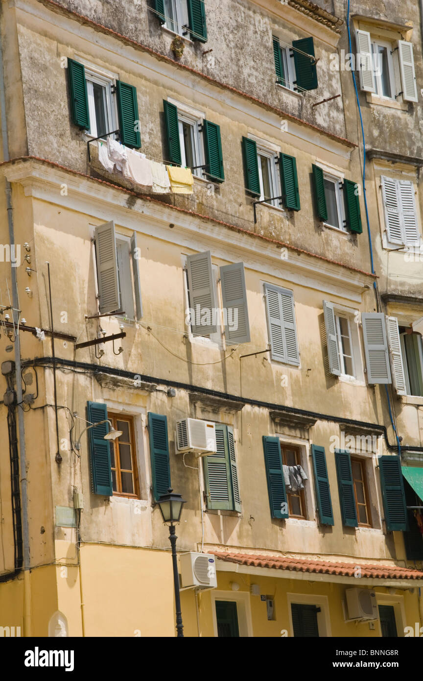 Traditional Venetian Style Buildings In Old Corfu Town On