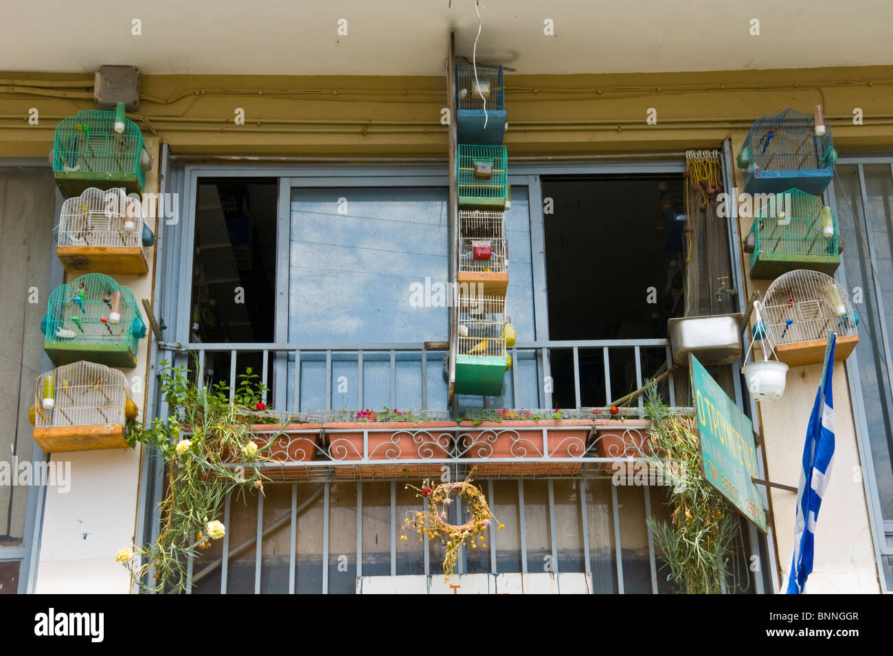 Cages of song birds hanging on balcony outside first floor apartment in old Corfu Town on the Greek island of Corfu - Stock Image