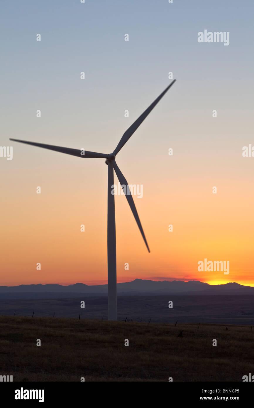 Wind Turbine at dusk, - Stock Image