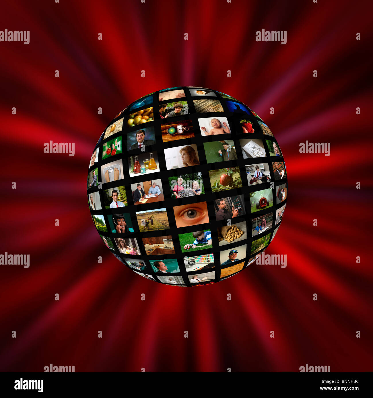 A sphere of pictures or video screens in a red vortex Stock Photo