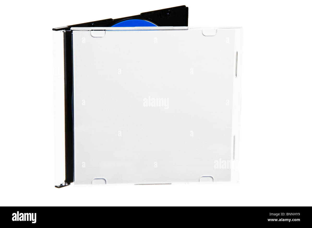Compact disc in the box, isolated on white background. - Stock Image
