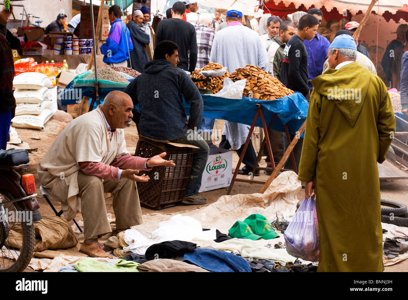 Friday Market Conversation in the Ourika Valley, Morocco - Stock Image