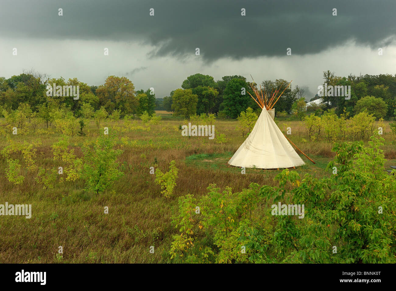 Tipi american indian tent Campground Upper Sioux Agency State Park Granite Falls Minnesota USA America United States - Stock Image