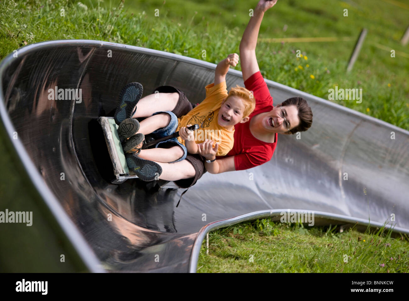 switzerland swiss family fun joke summer toboggan run gigantic slide
