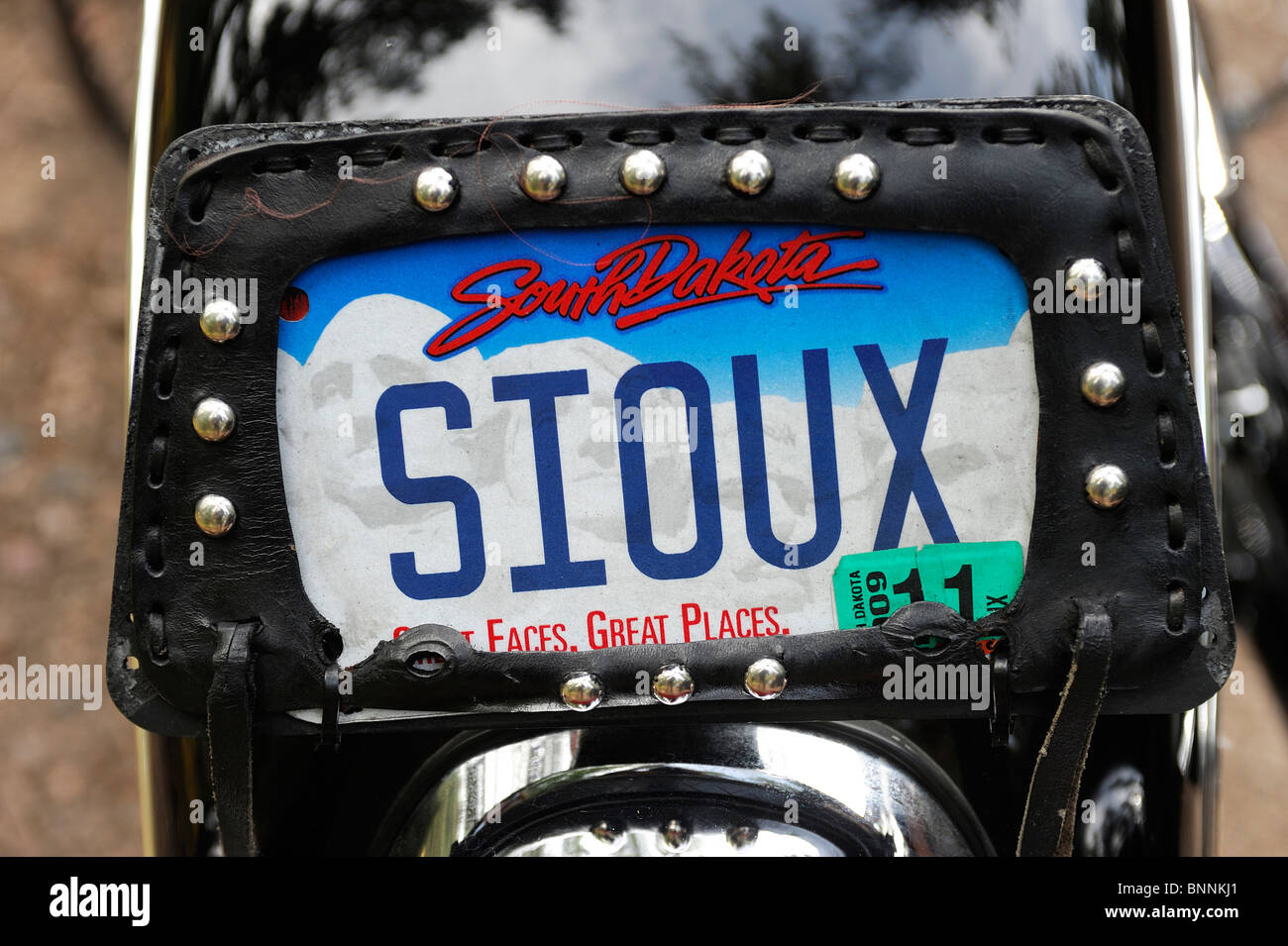 License Plate Sioux Indian Motorcycle Lakota Artist Jim Yellowhawk Native American Indian Black Hills South Dakota - Stock Image