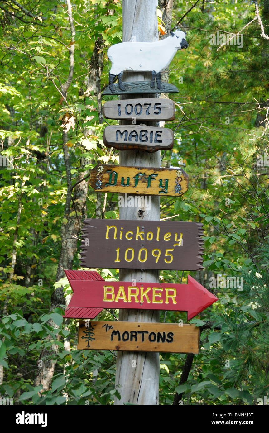signs Northern Highland American Legion State Forest Boulder Junction Wisconsin USA - Stock Image