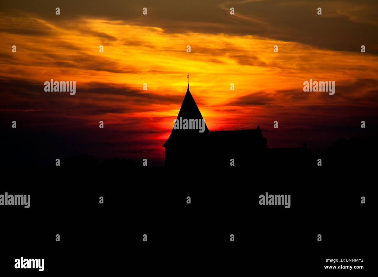 chirch in sunset - Stock Image