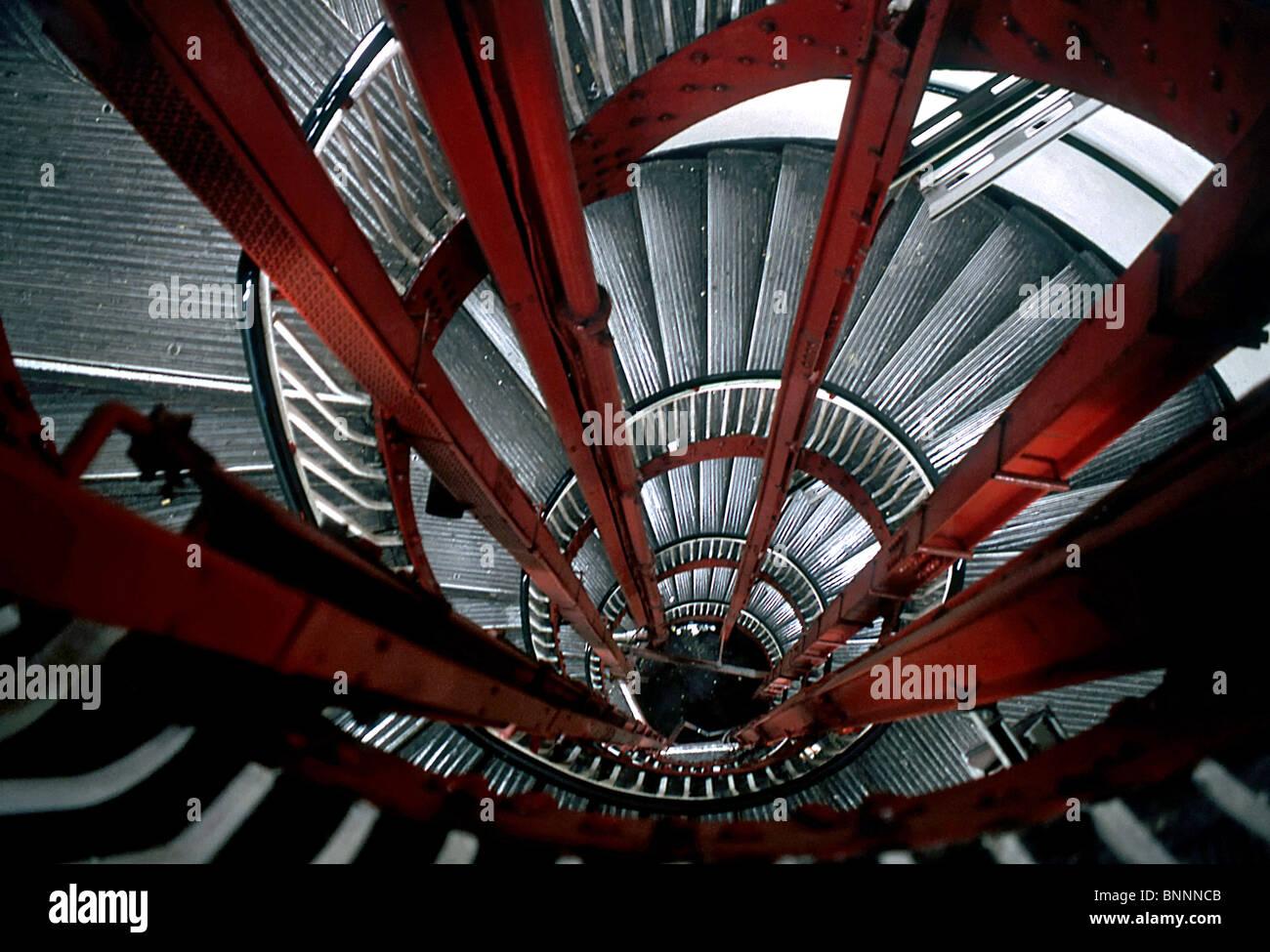 Stair tube Underground London England spiral U road railway - Stock Image