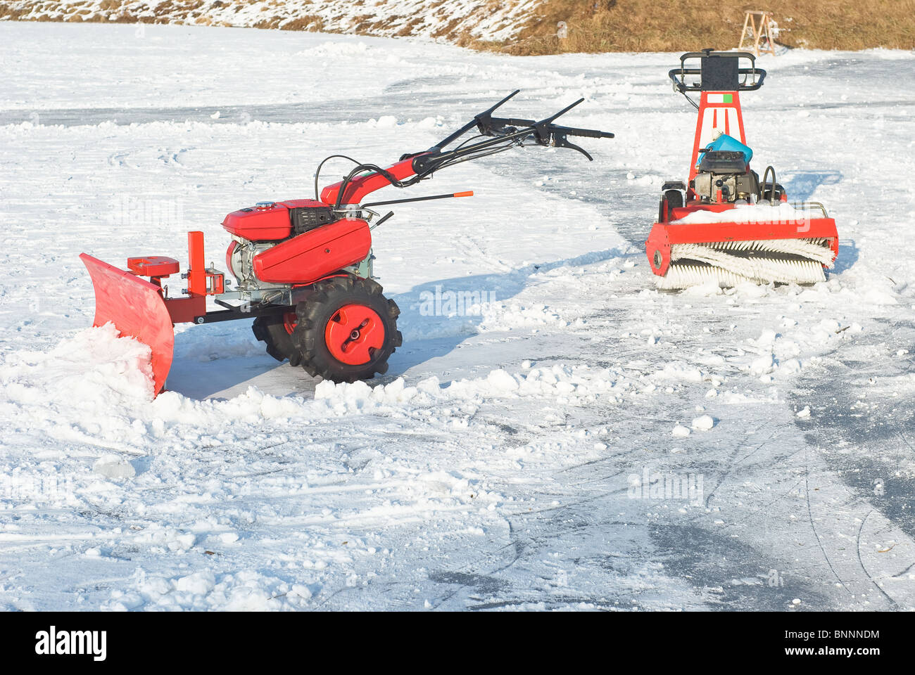 Snowplow for Removing Snow after Winter Storm - Stock Image