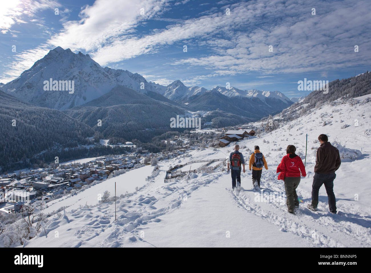 Wild tracks Scuol GR tracks traces trace search canton Graubünden Grisons Bündnerland Engadin Unterengadin - Stock Image