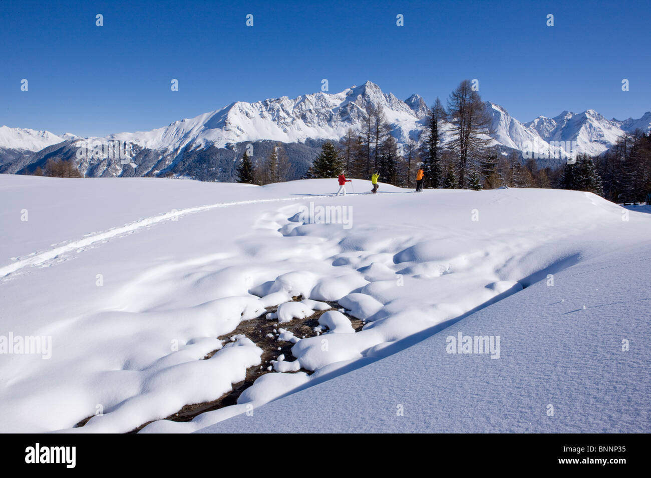Savognin GR snow shoes snowy shoe running snow group winter scenery persons tourism winter winter sports canton - Stock Image