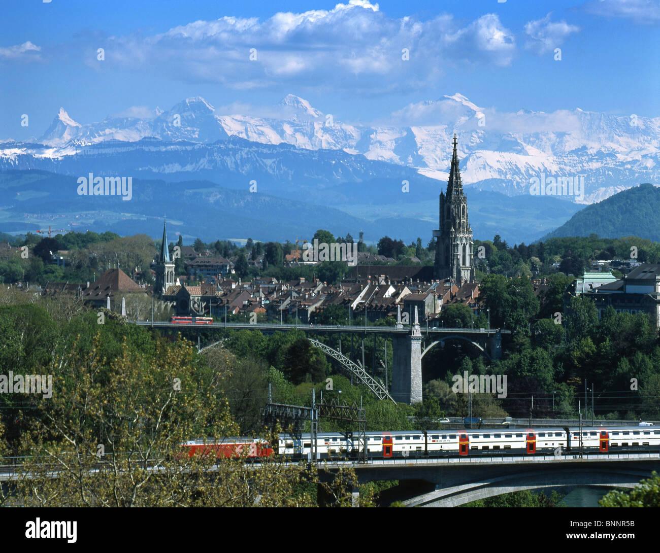 Bern Bernese Alps railway train feature railroad mountain