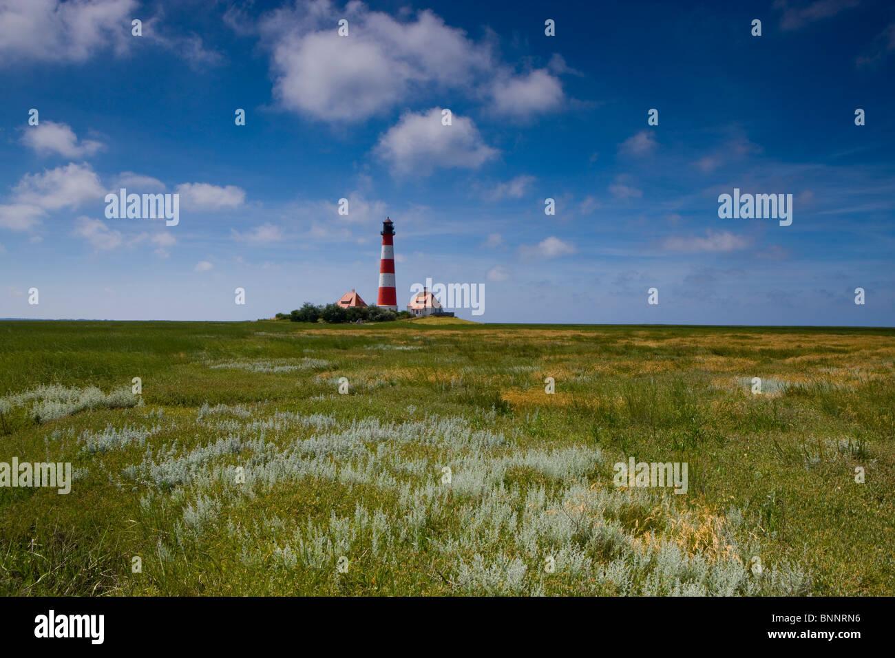 Westerhever Germany Schleswig - Holstein North Sea coast lighthouse pastureland - Stock Image