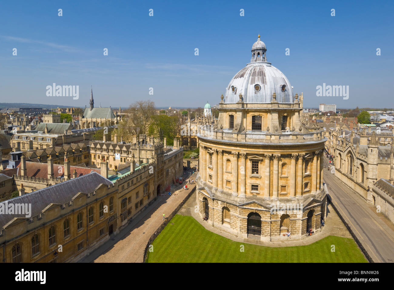 Radcliffe Camera walls of Brasenose College and rooftops of the University city of Oxford, Oxfordshire, England, - Stock Image