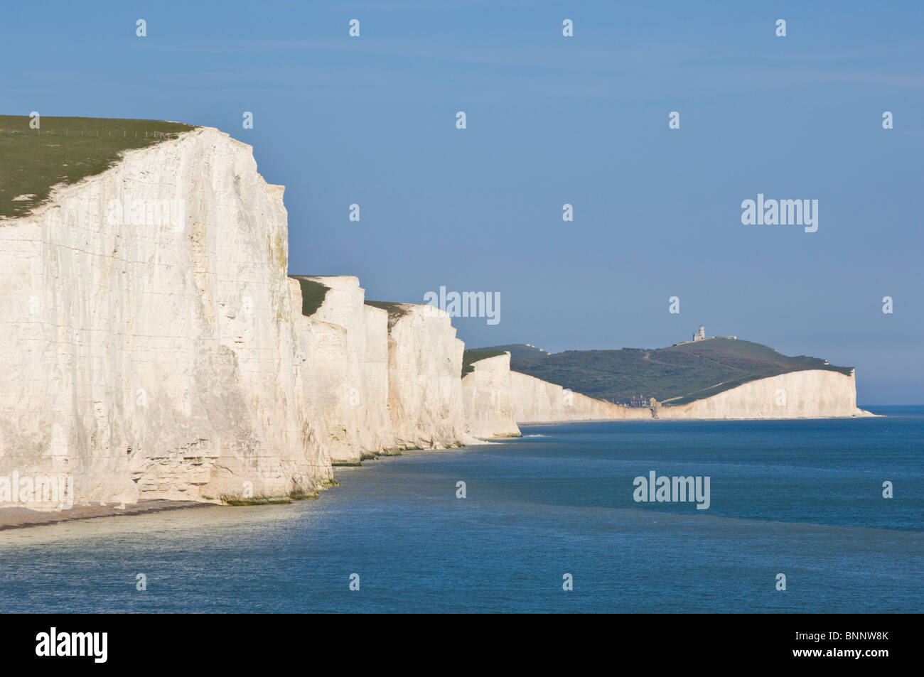 View of The Seven Sisters cliffs, South Downs Way, South Downs National Park, East Sussex, England, UK, GB, EU, - Stock Image