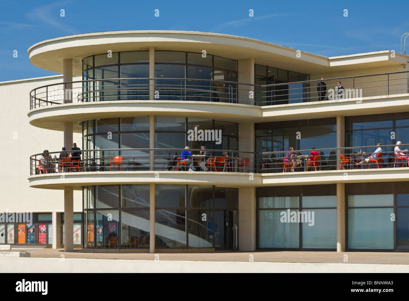 Exterior architecture details of the De La Warr Pavilion, Bexhill on Sea, East Sussex, England, GB, UK, EU, Europe Stock Photo