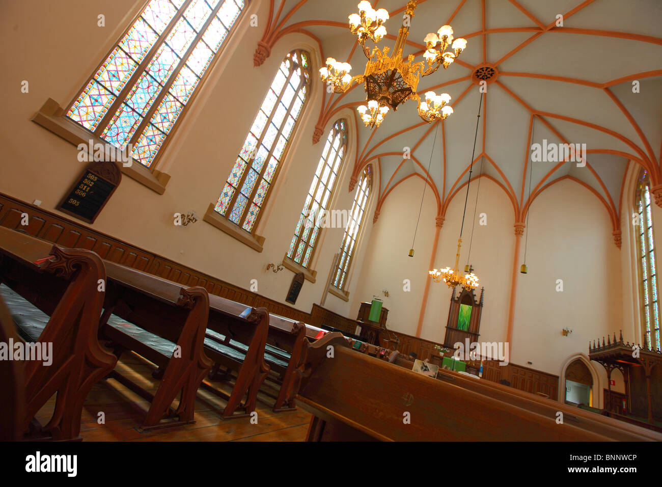 Glas Den Haag.Interior Of German Church With Stained Glas The Hague Den