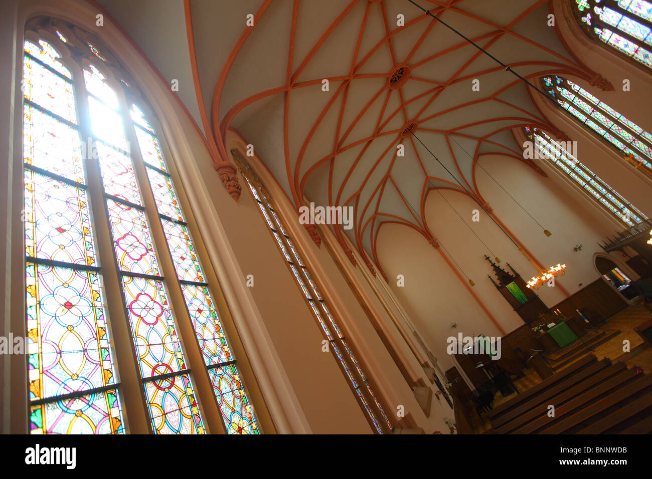 Glas Den Haag.Interior Of German Church With Stained Glas The Hague Den Haag