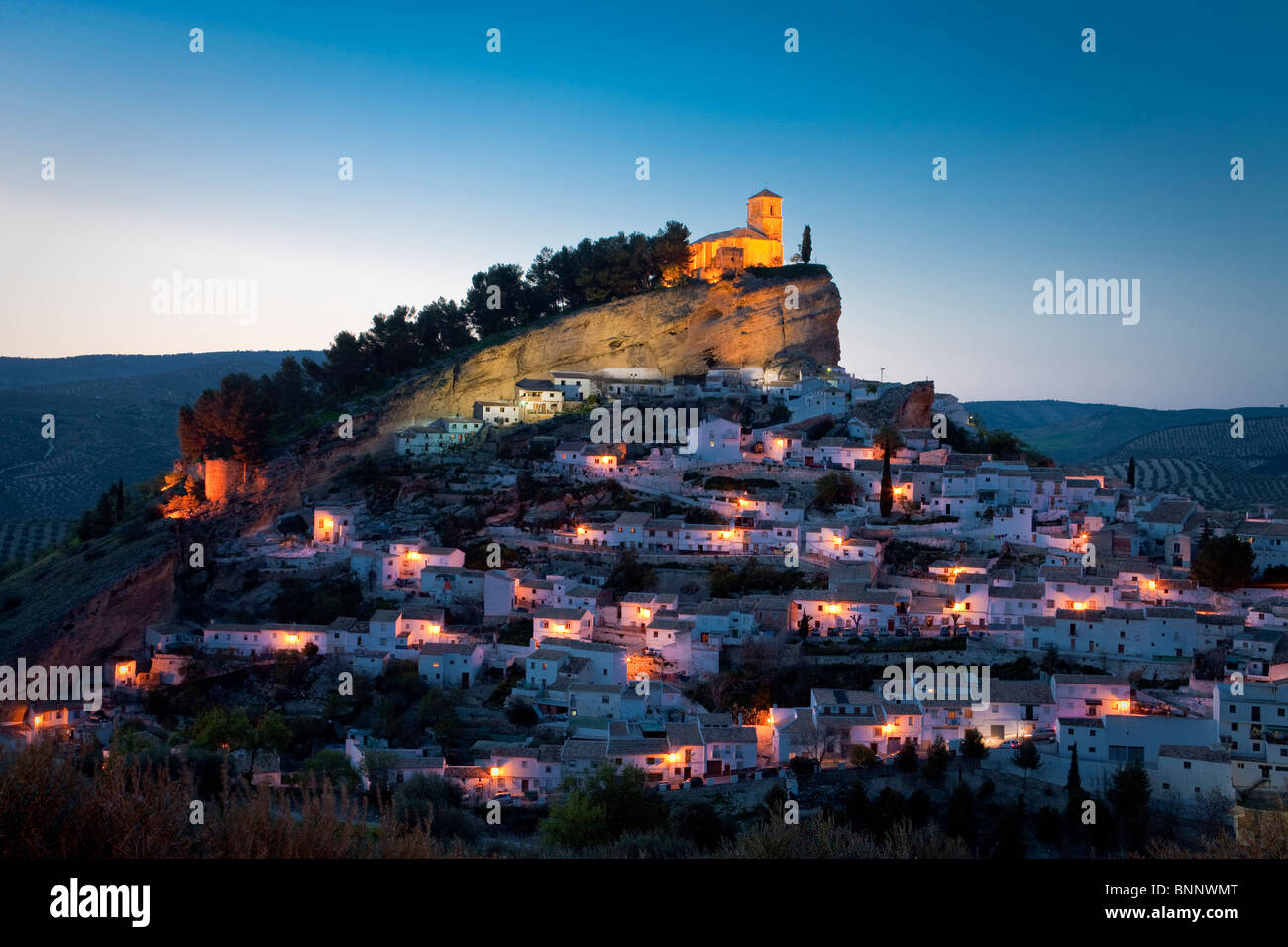 Andalusia Spain Montefrio hill town city evening travel traveling tourism vacation holidays - Stock Image