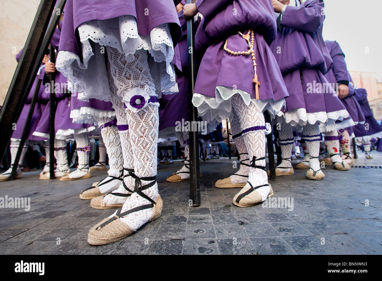Andalusia Spain Good Friday religion procession custom traveling tourism vacation holidays Stock Photo