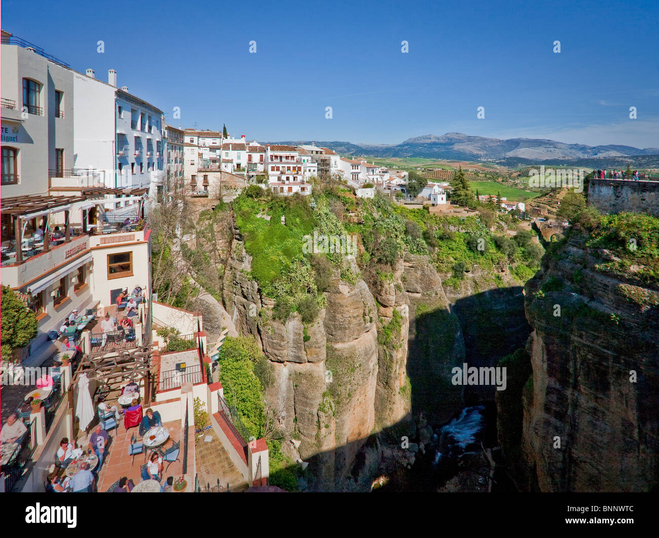 Andalusia Spain Malaga Ronda Middle Ages cliff connection protection traveling tourism vacation holidays - Stock Image