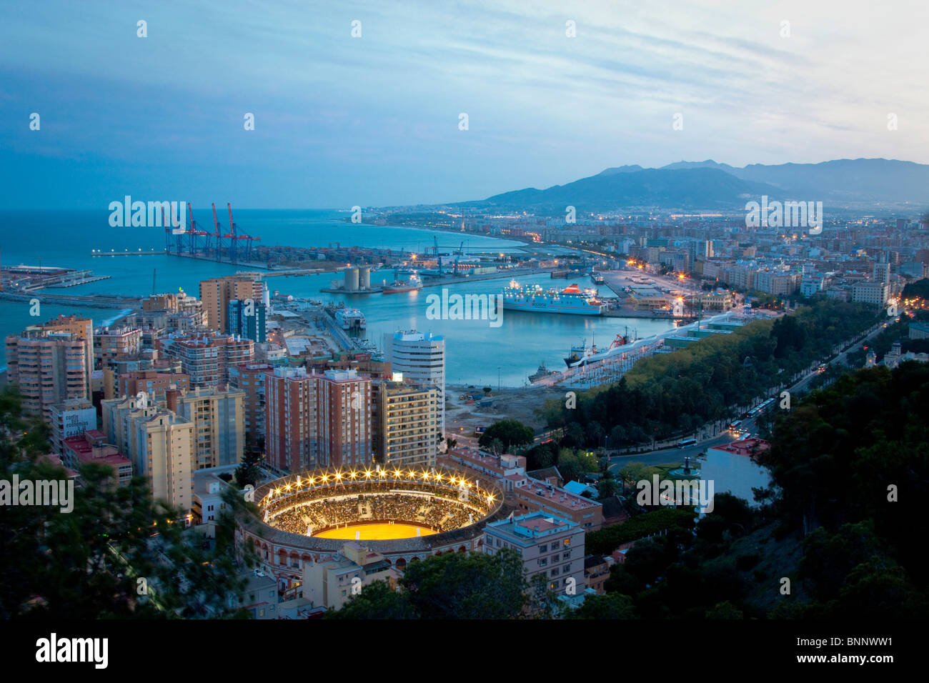 Spain Barcelona Catalonia Night water harbour port boats bullfight arena arena Andalusia Spain traveling tourism - Stock Image