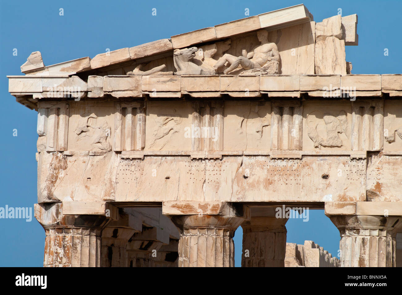Detail of the eastern pediment and entablature of the Parthenon. Stock Photo