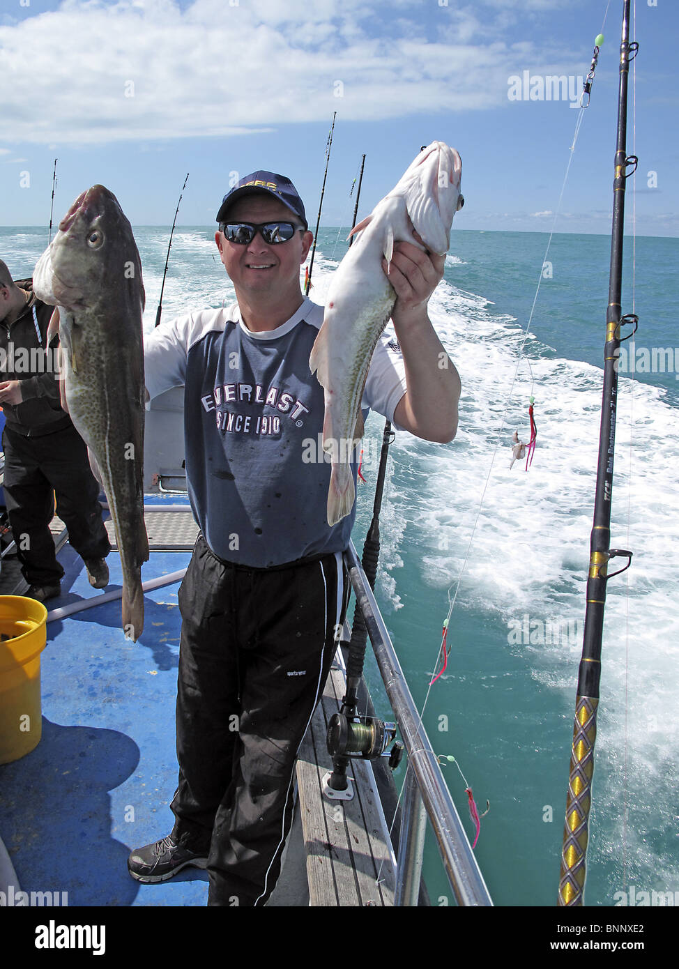 Sport deep sea fishing. A man shows his catch of two cod fish. - Stock Image