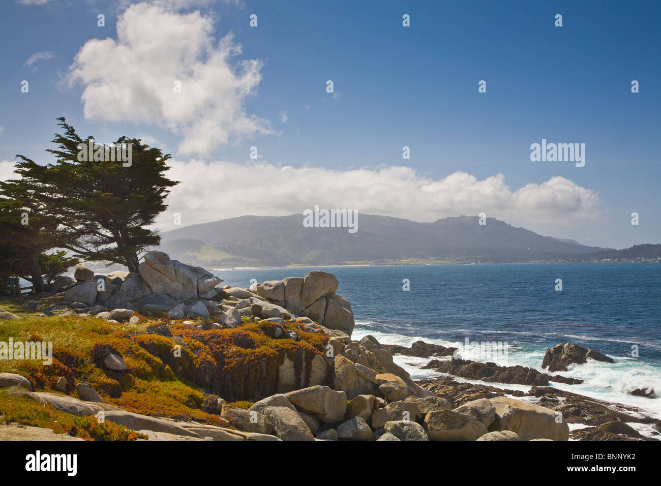 Rocky rugged Pacific Ocean coast on 17-Mile Drive at Pebble Beach on the Monterey Peninsula California - Stock Image