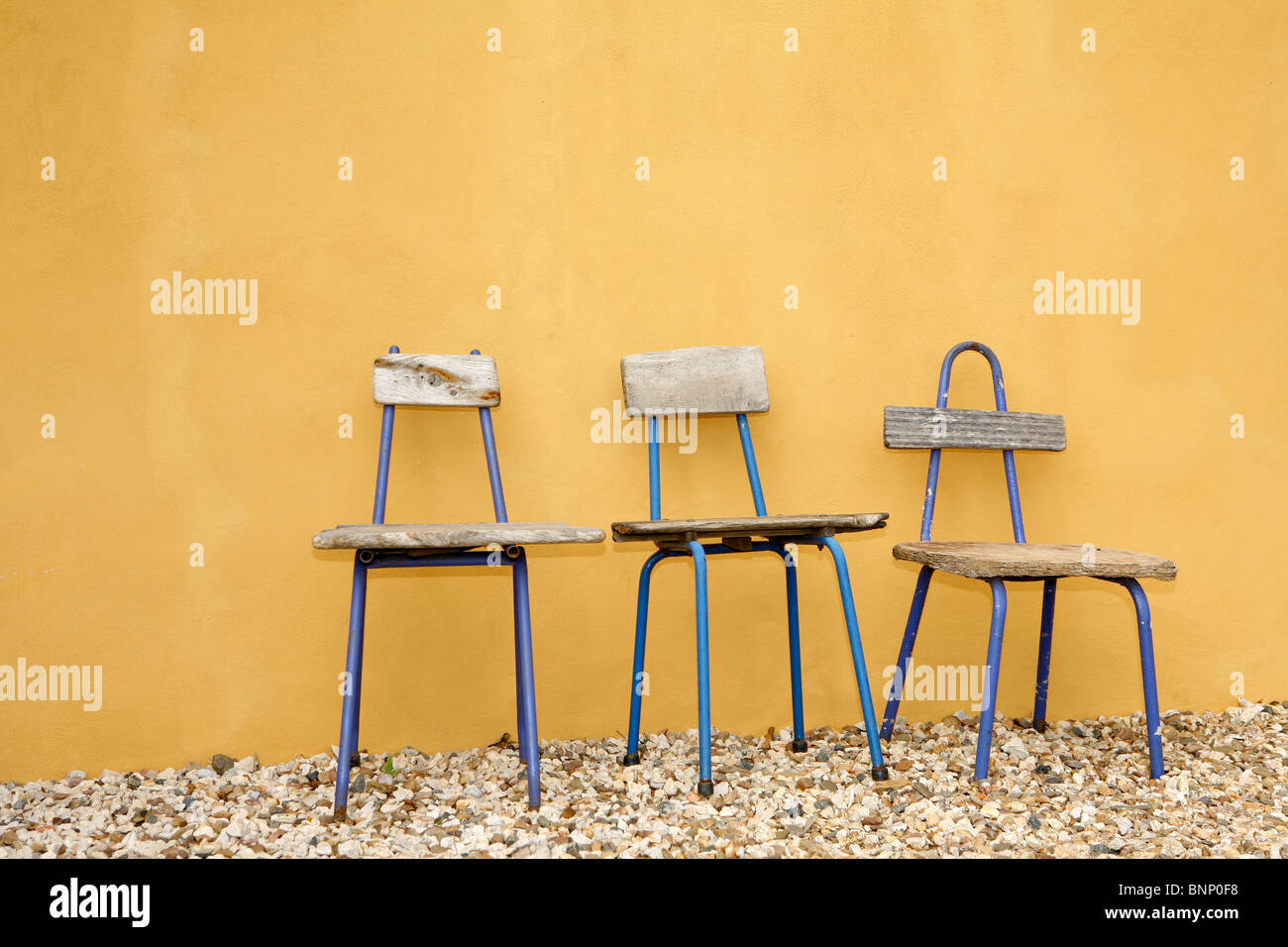 Great recycled chairs design, with beautiful yellow hand painted ...