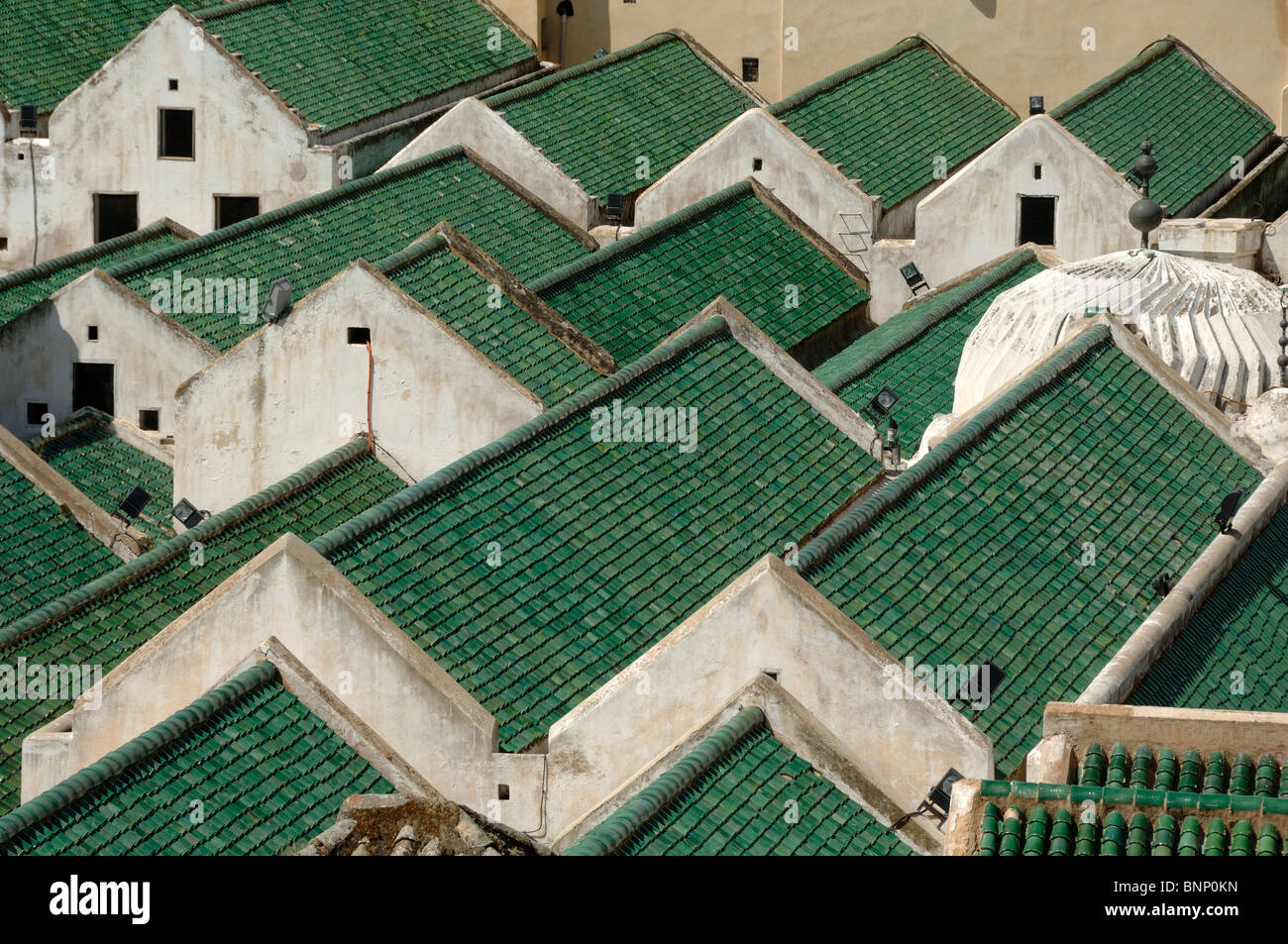 Green Rooftops of Kairaouine Mosque & Arabic or Islamic University (f.859) Fez, Morooco - Stock Image