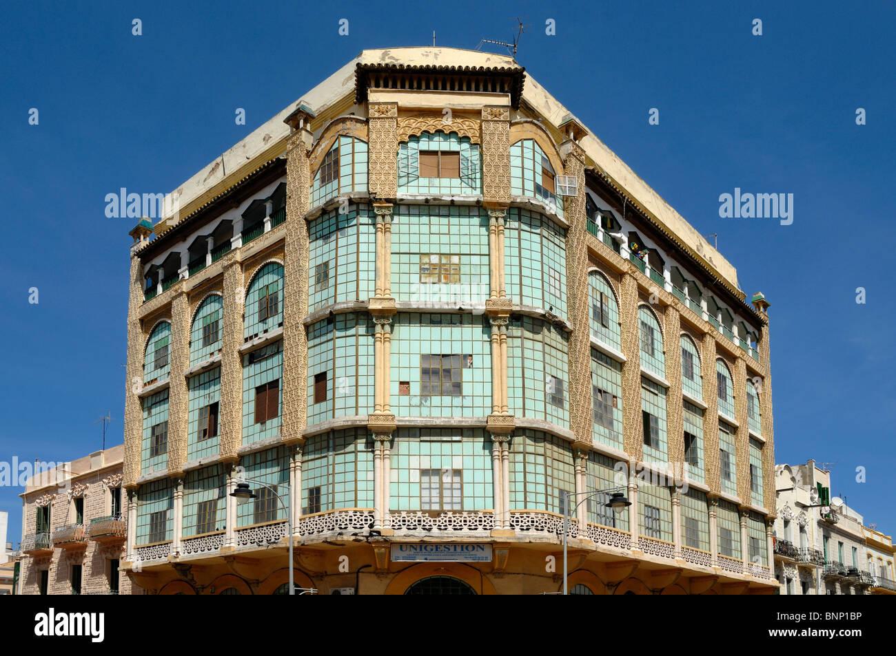 Casa de los Cristales, the Glass House (1922-1925), neo-Arab building planned as Queen Victoria Hotel, Melilla, - Stock Image