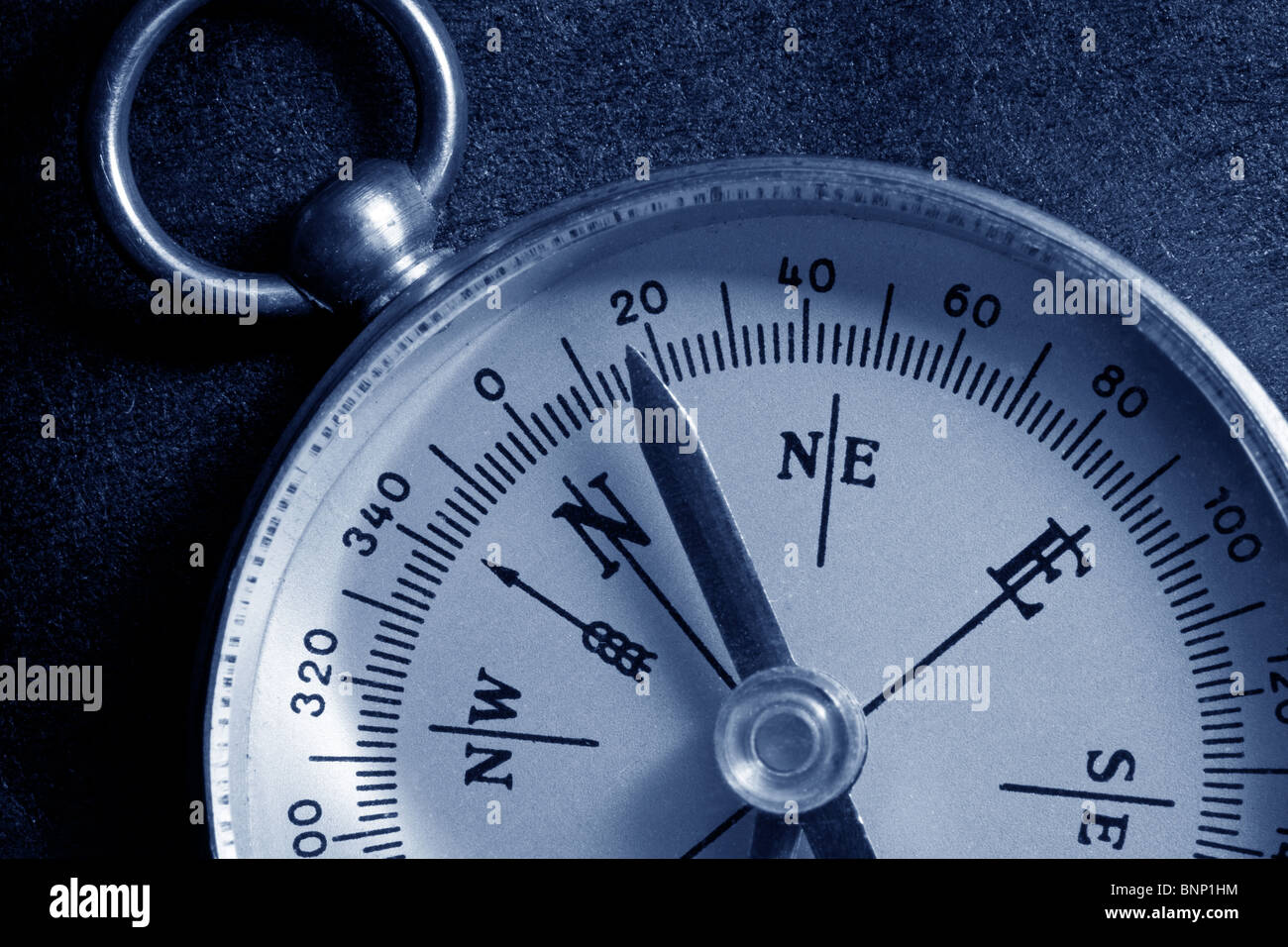 Antique compass close up shot - Stock Image