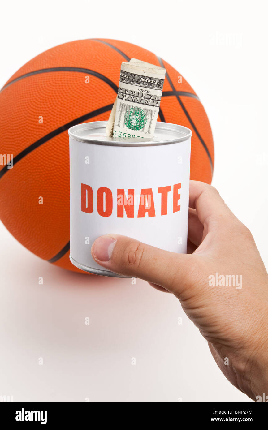 Donation Box and Basketball, concept of sport funds - Stock Image