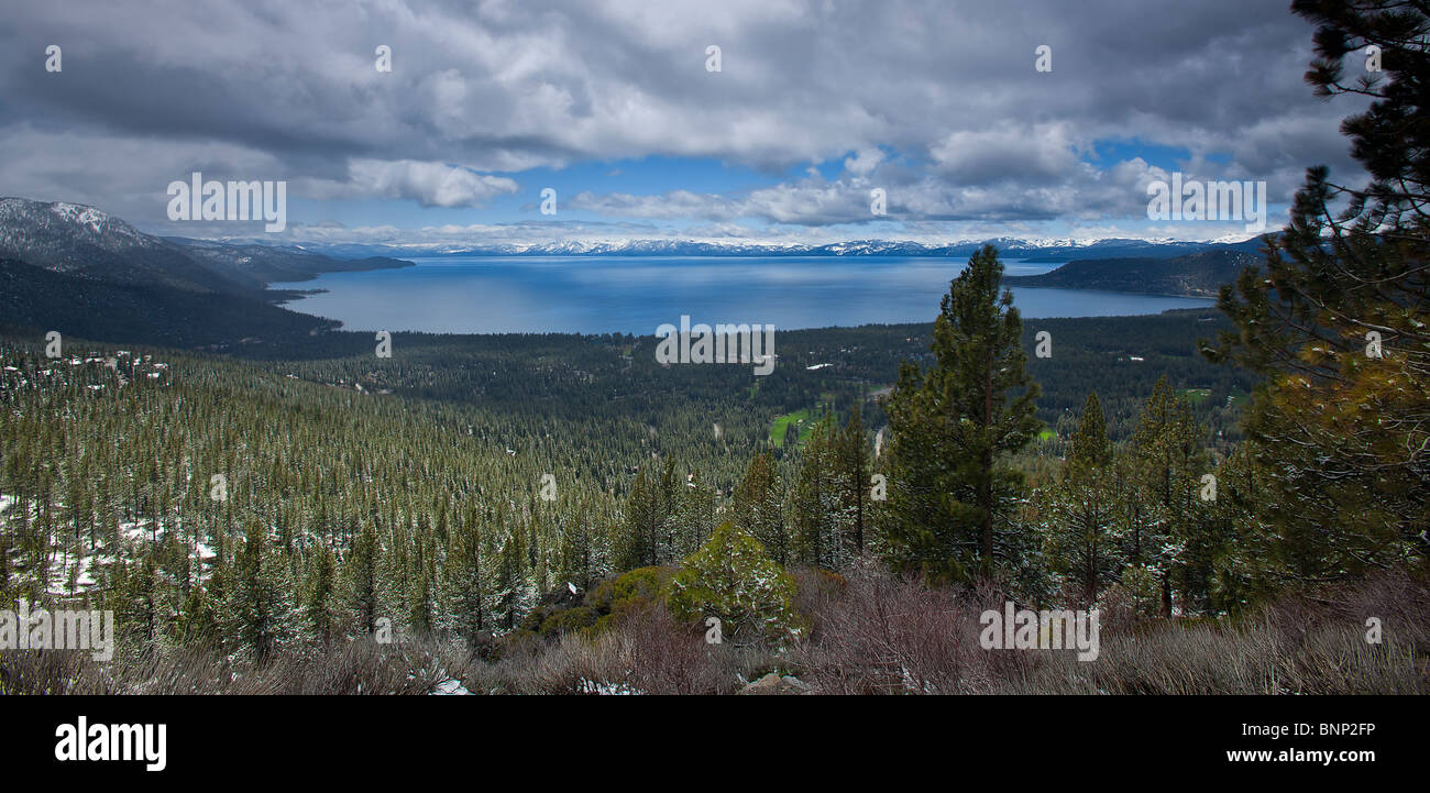 Lake Tahoe (left side of lake is Nevada and right side of lake is California, USA. - Stock Image