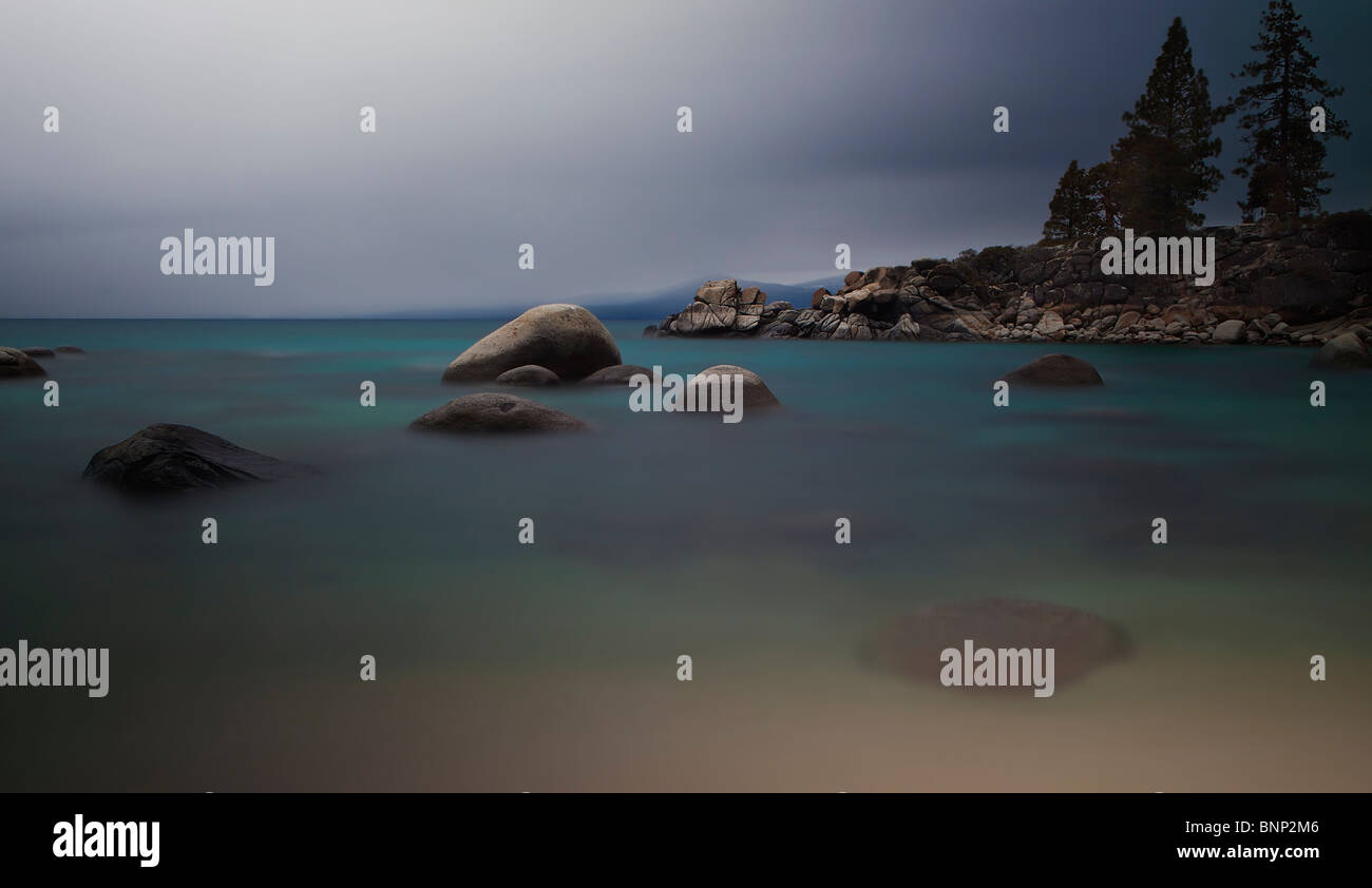 Timed-exposure reveals the colors and clarity of Lake Tahoe, California, USA. - Stock Image