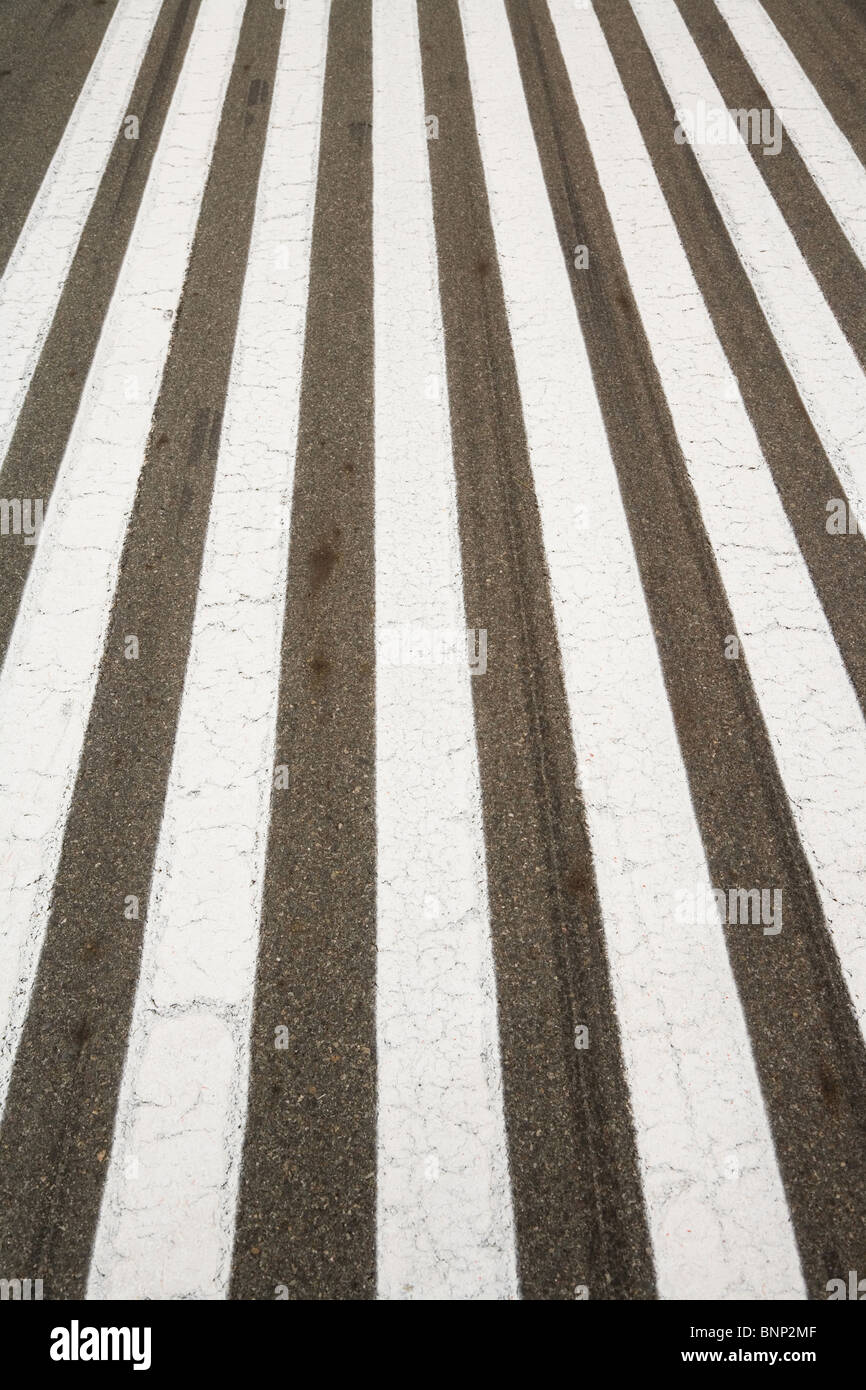 Runway, zebra crossing, for background - Stock Image