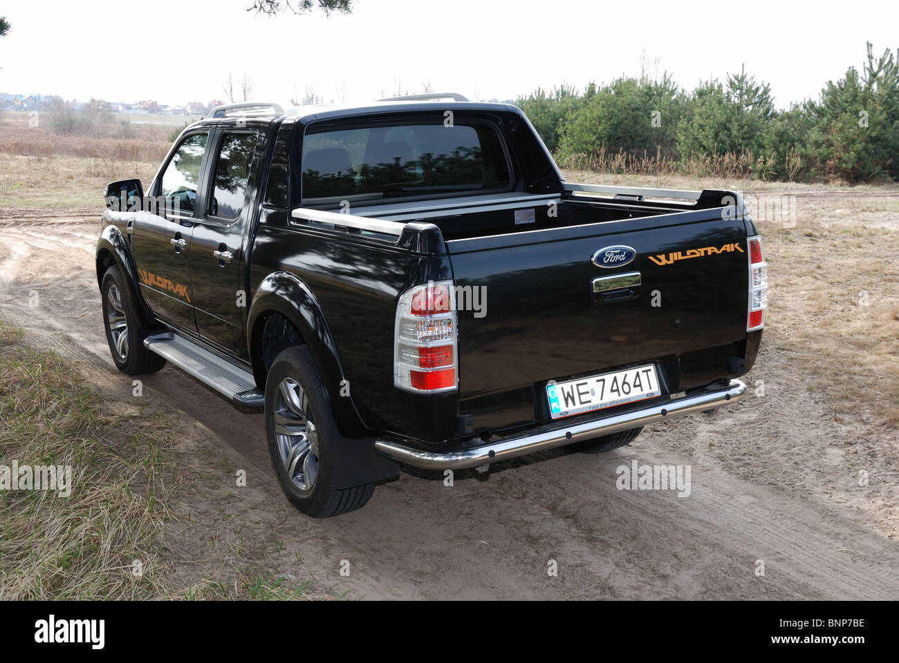 Ford Ranger 3.0 TDCi Wildtrak 4x4 - MY 2010 - black metallic - Double Cab - German pick-up - meadow, forest - Stock Image