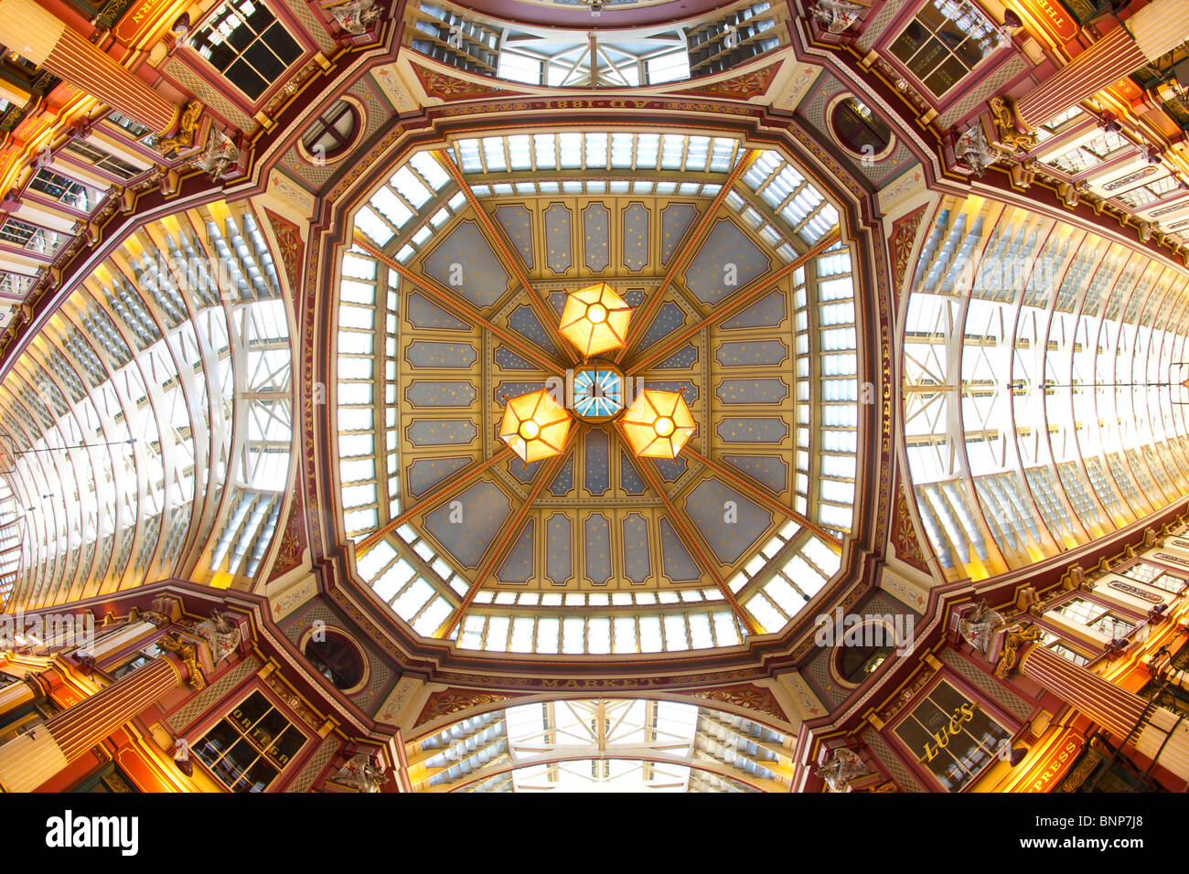 The roof of Leadenhall market in the city of London. - Stock Image