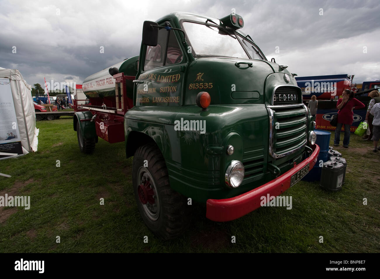 Vintage Bedford Oil truck owned and maintained by Caldo Oils displayed at the Nantwich Summer Show in July 2010 - Stock Image
