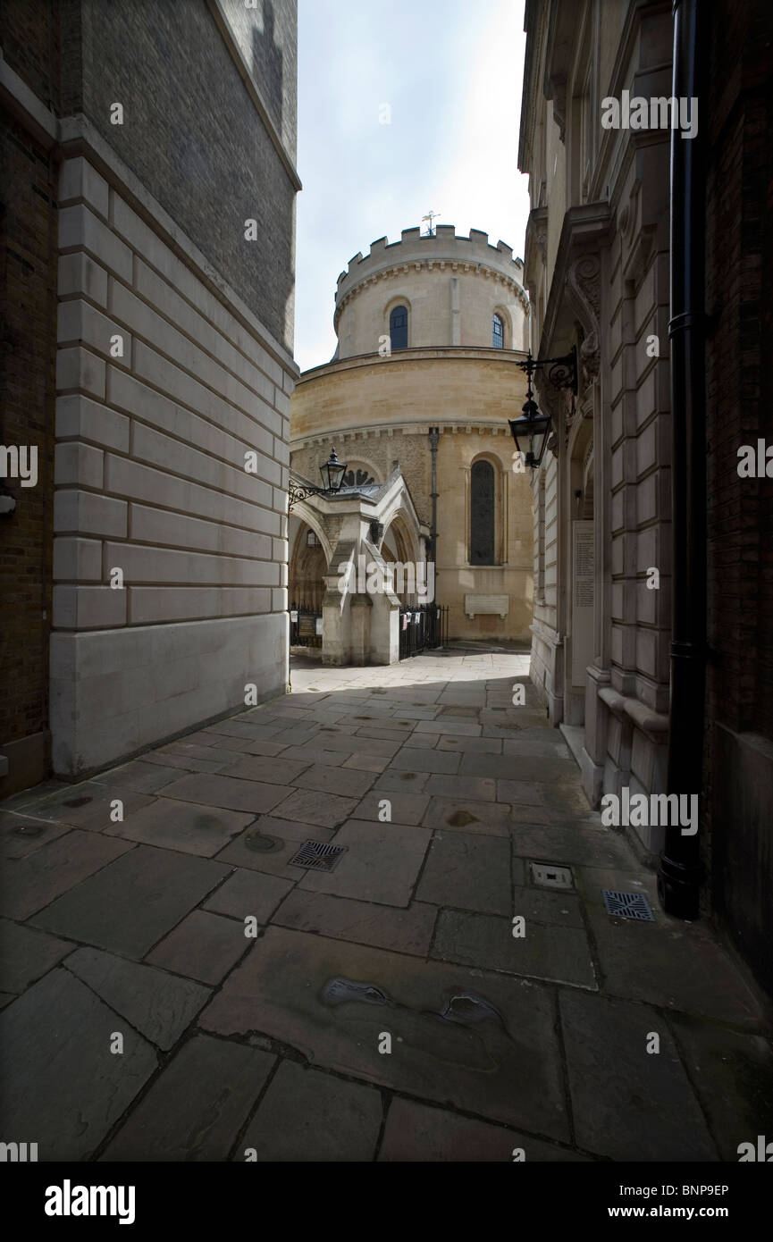 London. Temple Church, the knights Templar Church between Inner and Middle Temple just off The Strand in the Inns - Stock Image