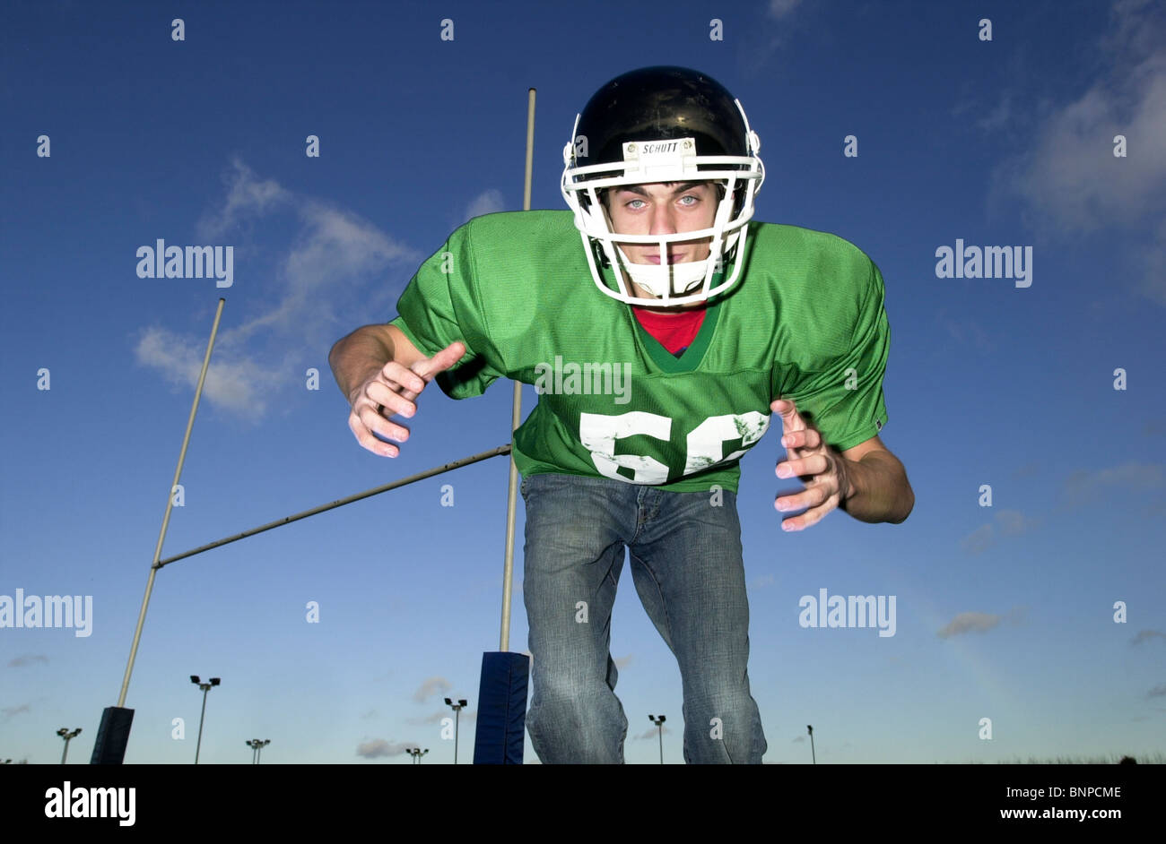 Blue American Football Outfit Stock Photos Blue American