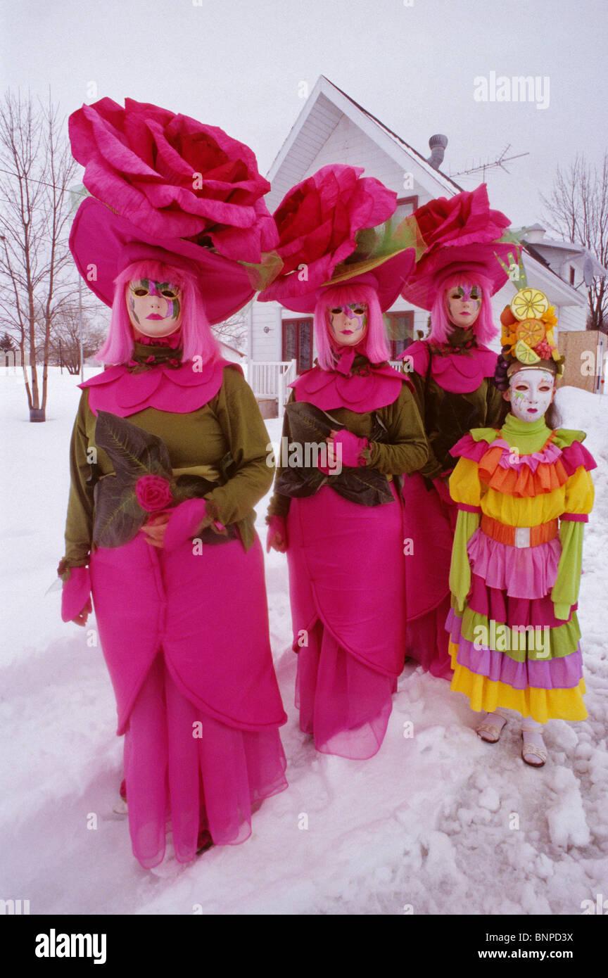 Mid lent carnival in Saint-Antoine-de-l'Isle-aux-Grues Province of Quebec Canada - Stock Image