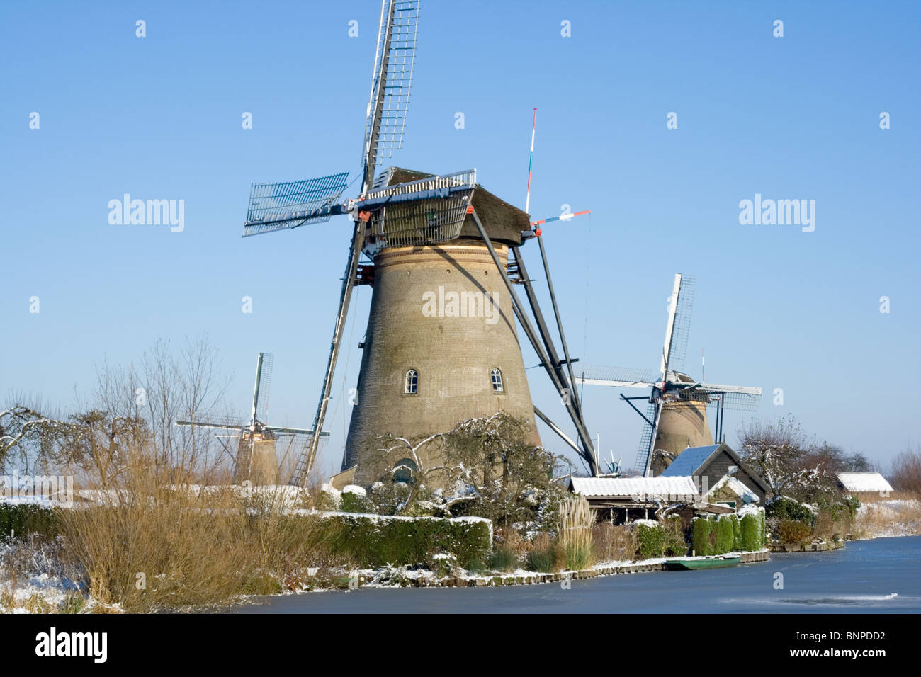 Dutch touristic windmill site of Kinderdijk. Zuid-Holland, The Netherlands - Stock Image