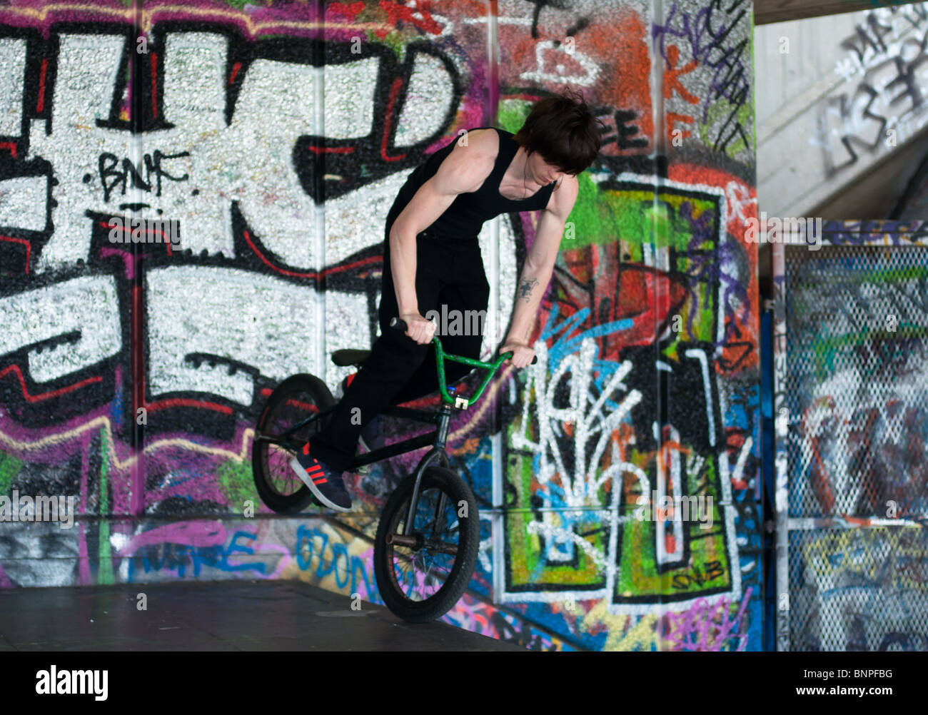 Stunt biker at Southbank, London - Stock Image