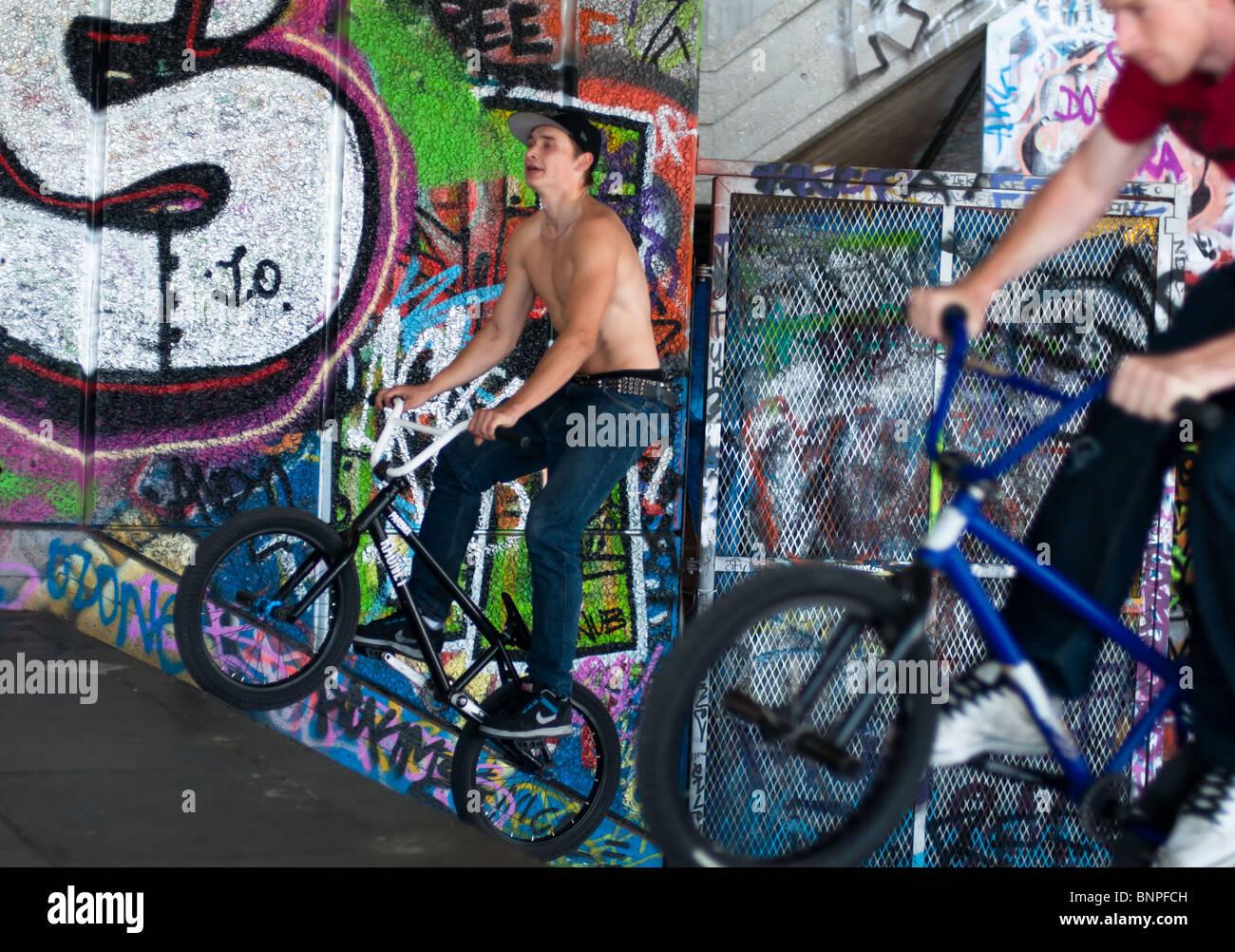 Stunt bikers at Southbank, London, England - Stock Image