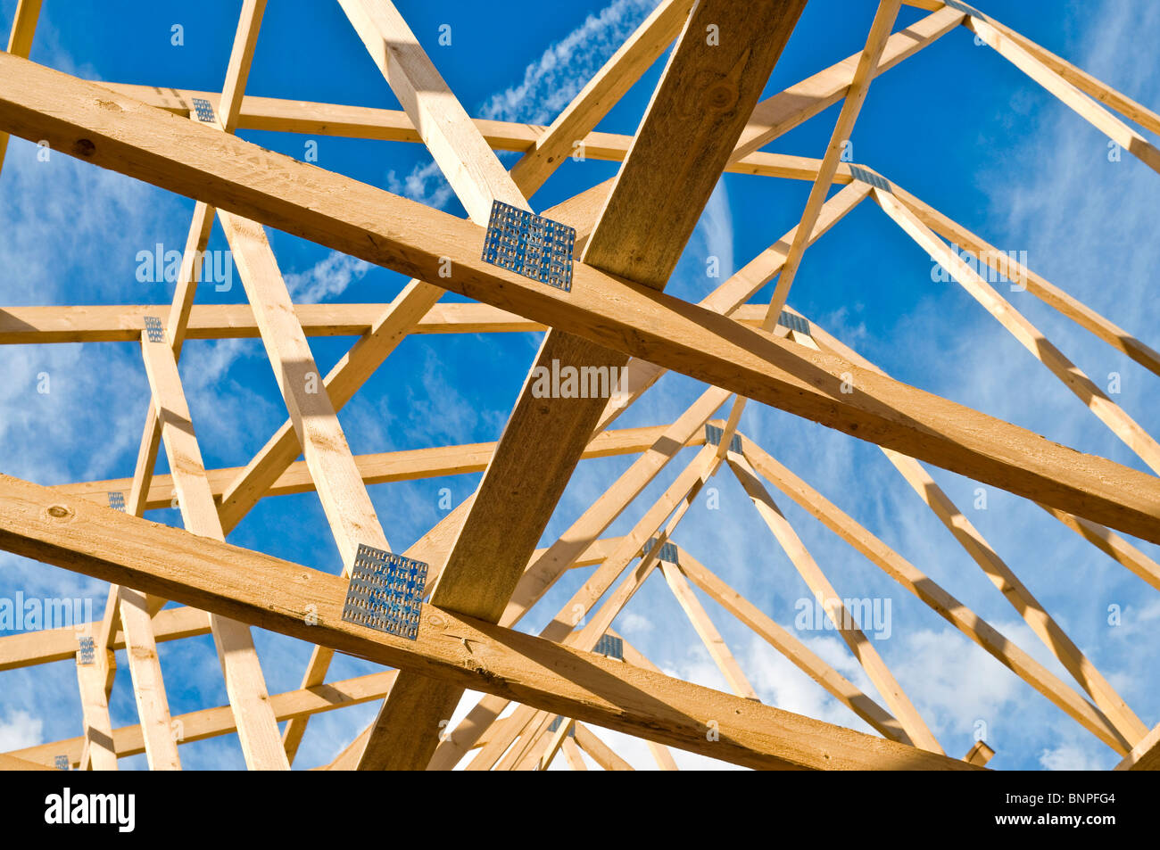 New house construction / prefabricated roof A-frames  - Indre-et-Loire, France. Stock Photo