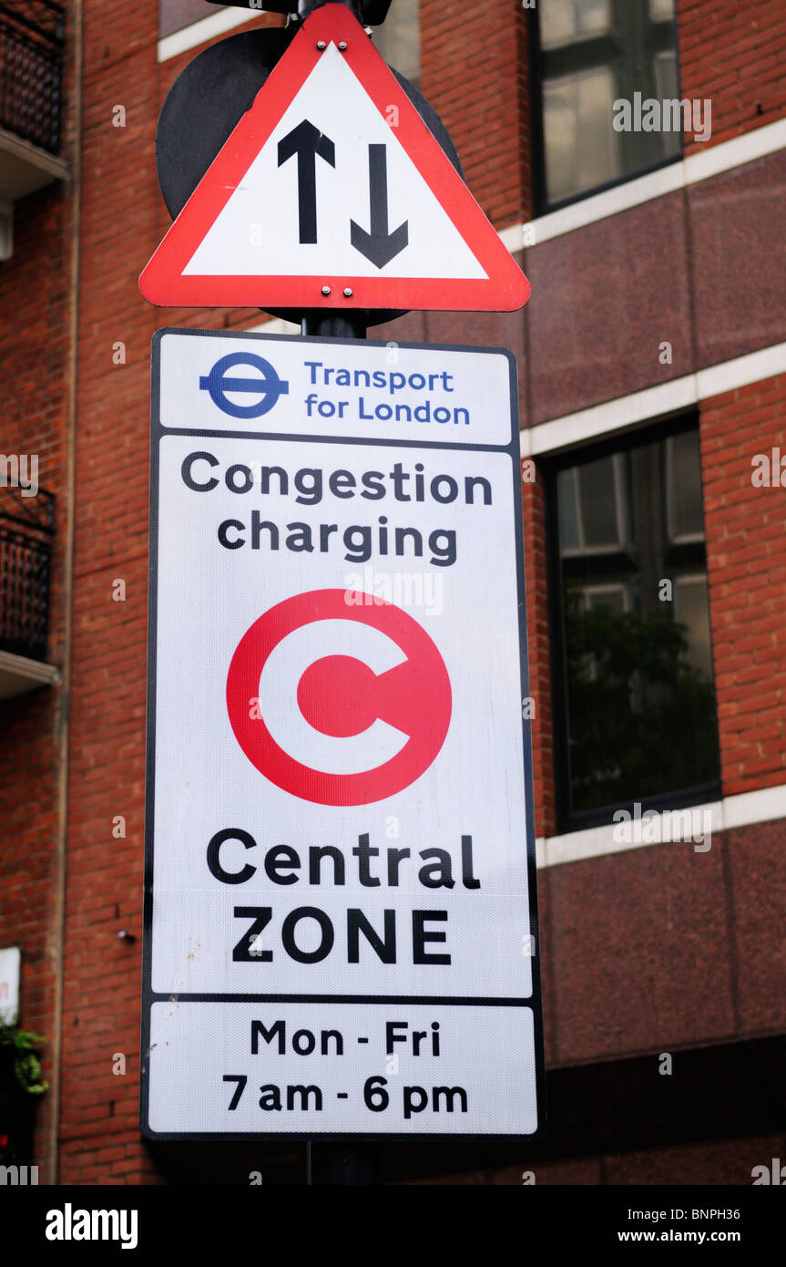 Congestion Charging sign in Victoria, London, England, UK - Stock Image