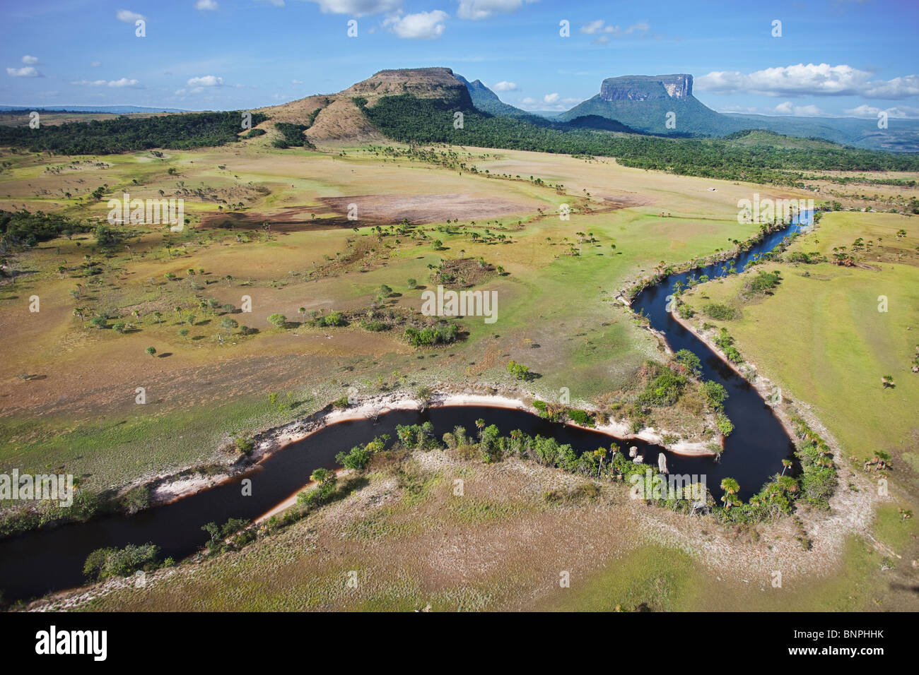 The Gran Sabana or Great Savanna lies on a plateau dotted with huge table-top mountains called Tepuis Venezuela - Stock Image