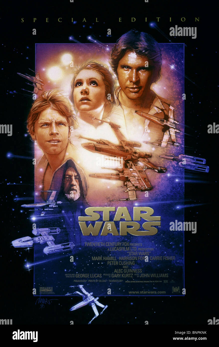 MARK HAMILL, ALEC GUINNESS, CARRIE FISHER, HARRISON FORD POSTER, STAR WARS: EPISODE IV - A NEW HOPE, 1977 - Stock Image